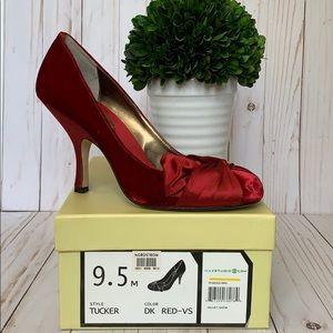 Max Studio Shoes - Max Studio Dark RED Heels 👠 Velvet-Satin